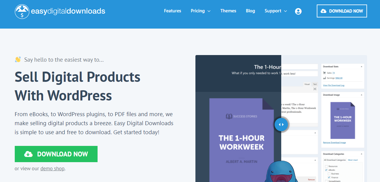 Easy Digital download is an e-commerce plugin to sell your products, and it provides a system for selling.
