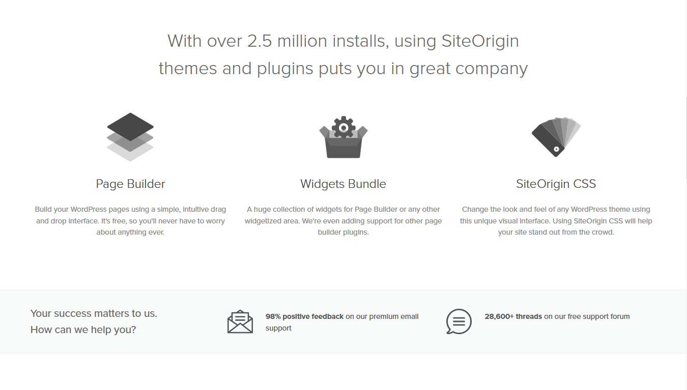 SiteOrigin page builder features