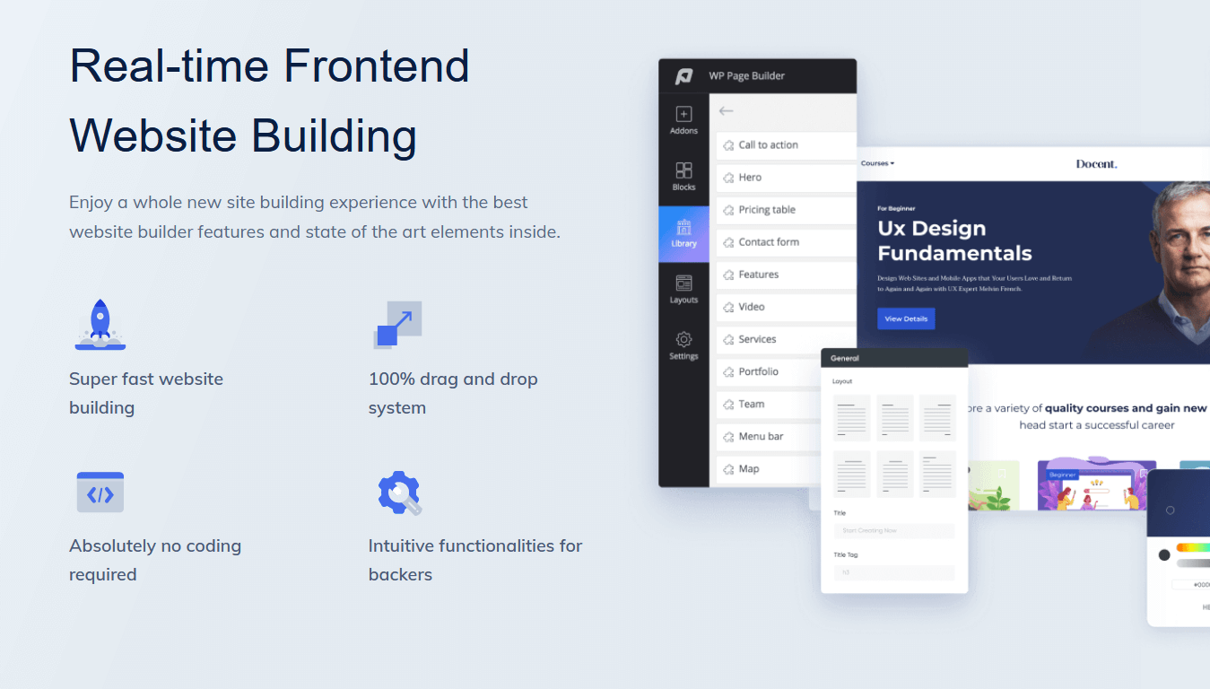 WP Page Builder features