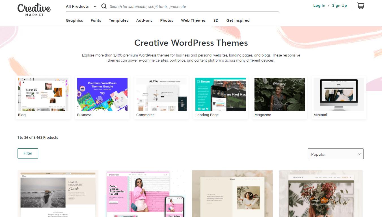 Creative Market theme categories