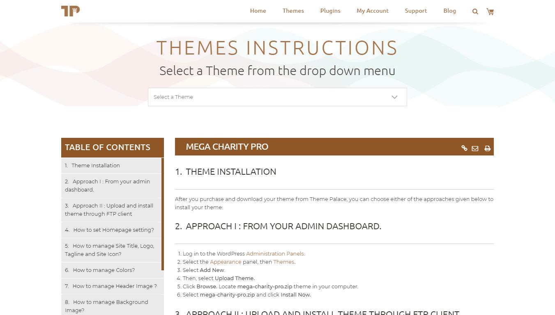 Theme Palace theme instructions